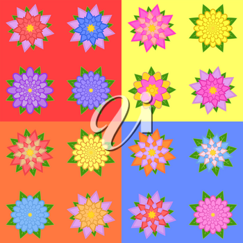 set of sixteen different colors of flowers isolated on a colored background