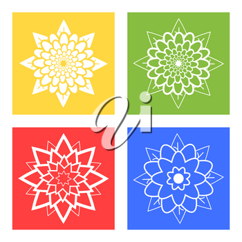Set of four silhouettes of flowers blue, green, yellow, red
