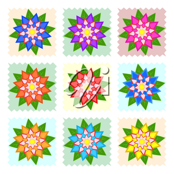 A set of beautiful colorful flowers on blue, yellow, green, orange squares. Isolated on white background. Nine options. Suitable for design.