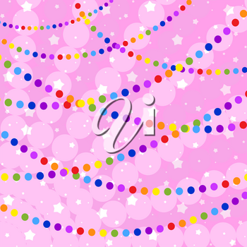 Set of flat colored isolated garlands round. Pink iridescent background . Suitable for design.