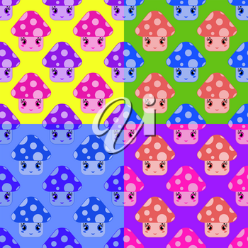 Set of seamless patterns from cartoon mushrooms of different colors on a multicolored background.