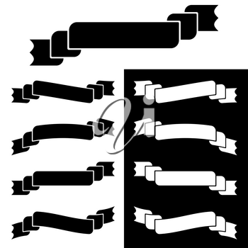 Set of flat white and black isolated silhouettes of ribbons banners on white background