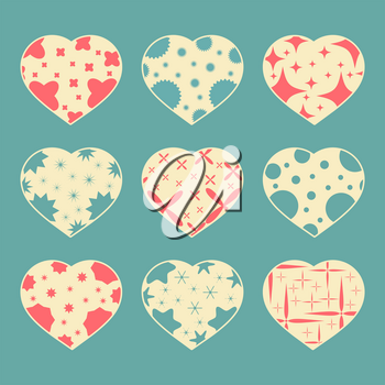 Set of color hearts isolated on blue green background. With abstract pattern. Simple flat vector illustration. Suitable for greeting card, weddings, holidays, sites.