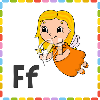 Funny alphabet. ABC flash cards. Cartoon cute character isolated on white background. For kids education. Learning letters. Vector illustration