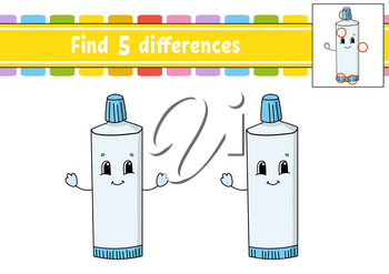 Find differences. Education developing worksheet. Activity page. Game for children. Isolated vector illustration in cute cartoon style.