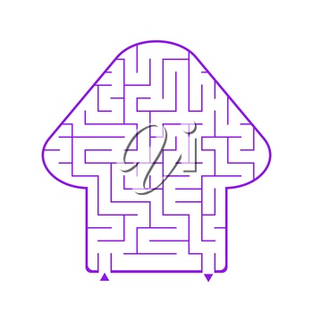 Abstract simple isolated labyrinth in the shape of a fungus. Purple flowers on a white background. An interesting game for children. Simple flat vector illustration.