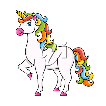 Cute unicorn. Magic fairy horse. Colorful vector illustration. Cartoon style. Isolated on white background. Design element. Template for your design, books, stickers, cards, posters, clothes.