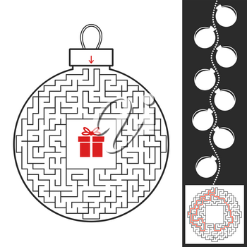 Maze Christmas toy. Game for kids. Puzzle for children. Find the path to the gift. Labyrinth conundrum. Flat vector illustration isolated on white background. With the answer