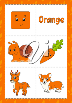Learning colors. Flashcard for kids. Cute cartoon characters. Picture set for preschoolers. Education worksheet. Vector illustration.
