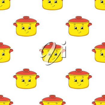 Colored seamless pattern. Cartoon style. Hand drawn. Vector illustration isolated on white background. For walpaper, poster, banner.