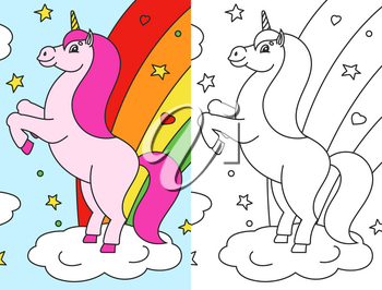 Coloring book for kids. The magical unicorn reared up. The animal horse stands on its hind legs. Cartoon style. Simple flat vector illustration.