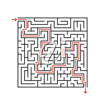 Black square maze with entrance and exit. A game for children and adults. Simple flat vector illustration isolated on white background. With the answer