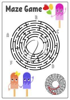 Abstract round maze. Kids worksheets. Activity page. Game puzzle for children. Cute cartoon ice cream. Labyrinth conundrum. Vector illustration. With answer. With space for your image