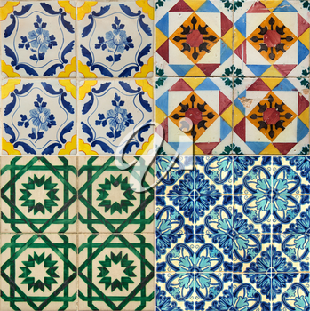 Collage of four different colors ceramic tiles from Portugal