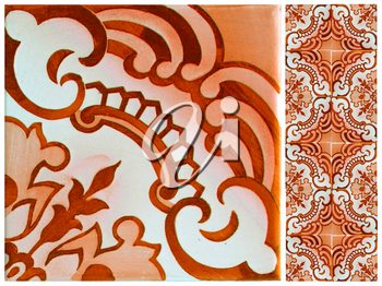 Photographs of traditional portuguese tiles with flowers in orange tone