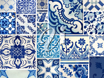 Collection of different blue patterns tiles of a different size